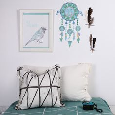Dream Catcher (blues) - Fabric Wall Stickers - For the wild and free child in your life.