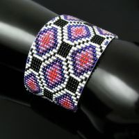 Bead loomed cuff - Indian Floor by CatsWire