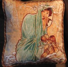 Square the design off and finish as a cushion.  This is Winter - Alphonse Mucha (by Scarlet Quince).