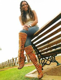 Como hacer botas altas a crochet  How to make tall boots (knitted and crochet)