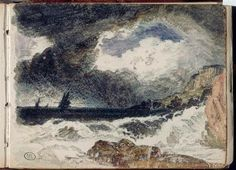 Send me a postal of the sea when you get there. William Turner, Landscape Drawings, Landscape Paintings, English Romantic, Artist Sketchbook, Sky Art, Grand Palais, Mail Art, Banksy