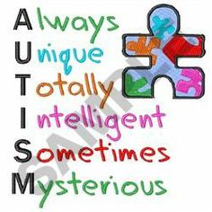 Great Notions Embroidery Design: AUTISM 4.58 inches H x 4.30 inches W