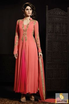Increase your ethnic charm by wearing this #peach chiffon long wedding wear…