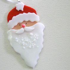 Fused Glass Santa Ornament Snowman
