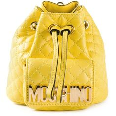 Moschino Mini Logo Bucket Backpack ($836) ❤ liked on Polyvore featuring bags, backpacks, backpacks bags, moschino backpack, shoulder strap bag, yellow backpack and lock bag