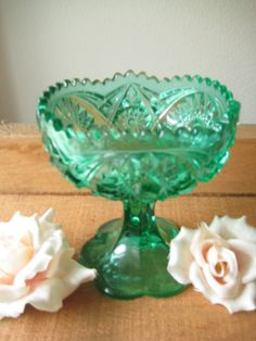 Beautiful Green Cut Glass Kemple  Candy Dish / by MyAtticFinds, $28.00