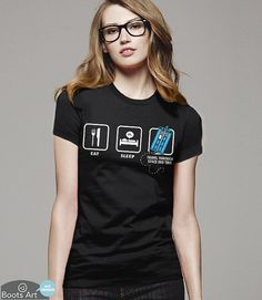 Doctor Who Shirt - Eat, Sleep, Who - 100% Cotton. Mens, womens and kids sizes. This geeky tee comes in navy and black.