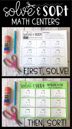 "Solve & Sort math centers offer highly engaging activities for students. Students solve different math problems, and then use an ""Answer Mat"" to sort their answers. Also great for homework and as a follow up to math lessons. These are available for 3rd and 4th grade."