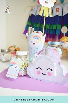 Nubes y arcoiris ideas para fiestas My Little Pony Birthday Party, Rainbow Birthday Party, Unicorn Birthday, Unicorn Party, Baby Shower Parties, Baby Shower Themes, Cloud Party, Party Decoration, Rainbow Baby