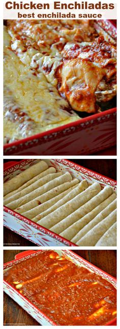 #Chicken #Enchiladas with best homemade enchilada sauce - #Mexican #Mexican food #recipe #dinner #recipes #meal What makes these Chicken Enchiladas the best?  They are made with an amazing homemade easy to make enchilada sauce.  I promise you will never eat enchiladas sauce from a can again.