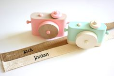 Handmade toy cameras with personalized straps for kids. Love!