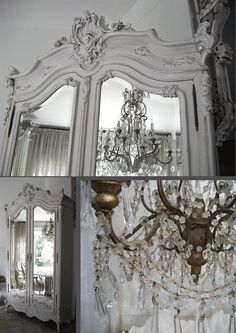 White antique armoire and chandelier