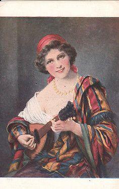 Fantasy Card Gipsy Girl playing music mandolin traditional costume