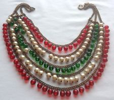 VINTAGE MIRIAM HASKELL SIGNED DANGLING GLASS BEAD & PEARL NECKLACE