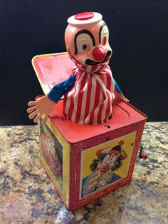 Mattel Jack-in-the-Box Send In The Clowns, Scary Clowns, Vintage Advertisements, Vintage Toys, Childhood Memories, Toy Chest, Nostalgia, Decorative Boxes, Mid Century