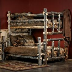 Midnight Dark Aspen Rustic Bunk Bed
