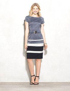 Sheath Colorblocking Belted  Dress
