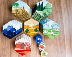 Settlers of Catan Board Board Game Pieces, Board Games, Game Boards, Catan Board, Settlers Of Catan, Gamer Gifts, Handmade Items, Handmade Gifts, Beautiful Artwork