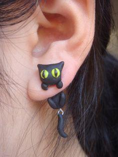 Clinging Cute Black Cat Two-Part Earrings. $16,50, via Etsy.