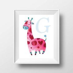 Nursery Art Print - - Children wall art, nursery quote, typography, Giraffe Art, Name Monogram - UNFRAMED Nursery Prints, Nursery Art, Art Wall Kids, Wall Art, Nursery Quotes, Quote Typography, Giraffe Art, Playroom Decor, First Art