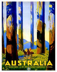 Austrailia - Tallest Trees ~ Fine-Art Print - Vintage Australian Travel Art Prints and Posters - Vintage Travel Pictures Old Poster, Poster Art, Poster Prints, Art Posters, Graphisches Design, The Design Files, Graphic Design, Vintage Travel Posters, Vintage Postcards