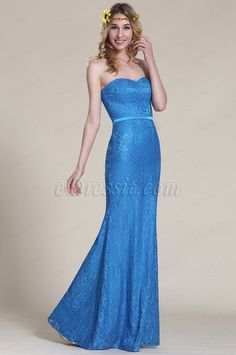 Strapless Sweetheart Blue Lace Bridesmaid Dress (07153005) $169.99