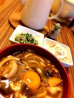 昨晩の鍋をリメイク♪(´ε` ) - 107件のもぐもぐ - 味噌煮込みうどん♡蕪とツナのサラダ♡たたきオクラ by eim153