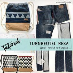 Kostenlose Anleitung für einen Turnbeutel aus Jeans mit Patchworkborte oder einen einfacheren Stoffturnbeutel. In 2 Größen, mit Innentasche für ein Laptop.