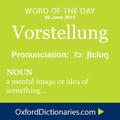 Vorstellung (noun): A mental image or idea produced by prior perception of an object, as in memory or imagination, rather than by actual perception. Word of the Day for 6 June 2015. #WOTD #WordoftheDay #Vorstellung