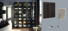 BILLY black-brown bookcases with tempered glass doors and GRUNDTAL stainless steel cabinet lighting