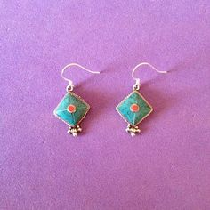 Nepal Earrings, Turquoise and Coral. Nepal Beads on Silver Ear Wire, Handmade Jewelry by JuEl Bijoux