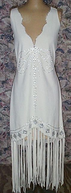 Sleeveless white deer hide dress with Beadwork all Handcrafted buckskin dress Native American Wedding, Native American Clothing, Native American Fashion, American Apparel, Native Fashion, Native Wears, Indian Patterns, Native Indian, Indian Bridal