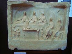 Grave Stone Depicting a Funeral Meal, Roman Period, Canakkale Archaeological Museum