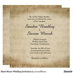 Sheet Music Wedding Invitation