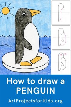 Learn how to draw a with this fun and easy art project for kids. Simple step by step tutorial available. art people Draw an Easy Penguin · Art Projects for Kids Penguin Drawing Easy, Pinguin Drawing, Penguin Art, Drawing Tutorials For Kids, Art Drawings For Kids, Easy Drawings, Art For Kids, Drawing Ideas Kids, Simple Drawings For Kids