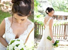 low cut back lace wedding dress. v neck.