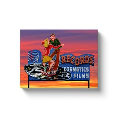 Tower Records Original Neon Sign Gallery Wrapped Canvas Print Vintage Record Store - 12x16 inch