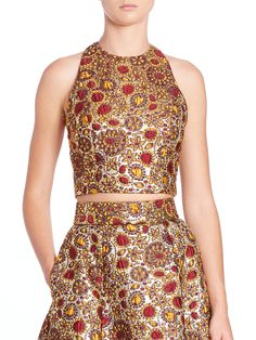Buy Alice + Olivia Women's Metallic Farrah Jacquard Crop Top, starting at $85. Similar products also available. SALE now on!