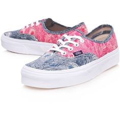 Vans Pink and Blue Authentic Hera Print Trainers found on Polyvore