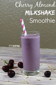 Cherry Almond Milkshake Smoothie:  Delicious healthy protein smoothie recipe that is quick to make and tastes fantastic!