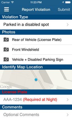 Parking Mobility From iTunes. Report those parked in a handicap spot without the proper placard or license plate. Free