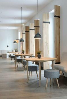 Planning - Small groups of tables create more intimate meeting spaces for employees, pendant lighting adds style and visual interest.