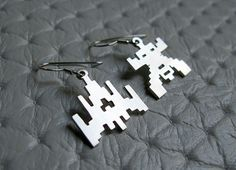 Space Invaders Earrings  Sterling Silver  Handmade by pippoko, $25.00