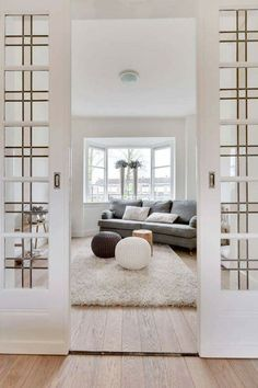 Simple leaded windows make a stunning entrance to a room. Home Living Room, Interior Design Living Room, Living Room Decor, Style At Home, Motif Art Deco, Cuisines Design, House Rooms, Home Fashion, Home Decor Inspiration