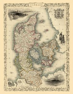 "Antique map - Old map of Denmark - Vintage map of  Denmark  Print - 19 x 24 "". $35.00, via Etsy."