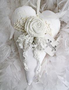 Cuore bianco bustina lavanda Rose rifilato di CottonRidgeEmporium