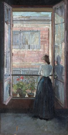Woman at the window - Antoine Bourdelle French, Oil on canvas Window View, Window Art, Antoine Bourdelle, French Photographers, Through The Window, Illustrations, French Artists, Beautiful Paintings, Impressionist