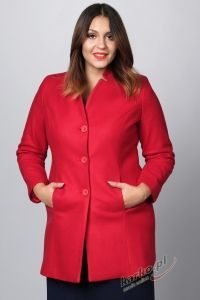 Płaszcz  flauszowy zimowy elegancki stójka malinowy