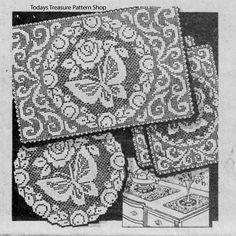 Filet Crochet Butterfly Doilies Pattern Alice Brooks 6121 | Todays Treasure Pattern Shop