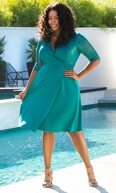 fe1cbff05d Wondering what to wear for a weekend wedding  Our plus size Ravishing Lace  Wrap Dress glistens with metallic lace to give it a bit of edge